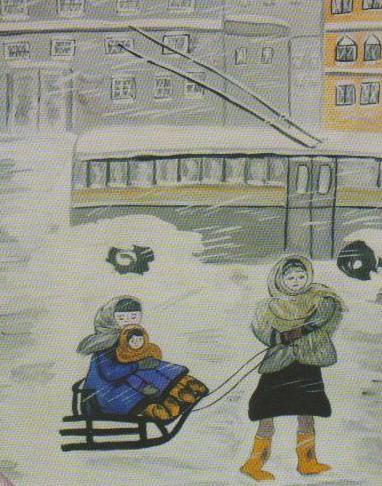 Дети рисуют войну. Блокадный Ленинград. . Рис. Юли Иванцовой