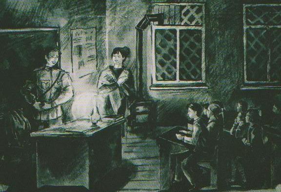 Дети рисуют войну. Рисунки Жени Кобелёвой, 14 лет. Первый урок.
