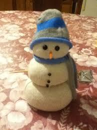 Новогодние поделки: Снеговик из носка и риса